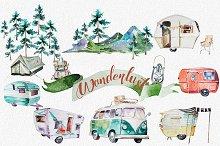 Watercolor Wanderlust Clipart Set