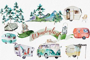Watercolor Wanderlust Clipart Set