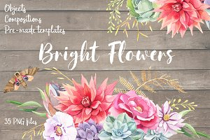 Bright Watercolor Boho Flowers