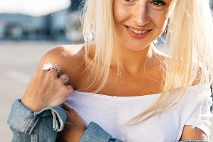 Portrait of young smiling blonde on