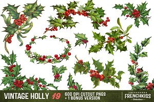Vintage Holly Illustrations