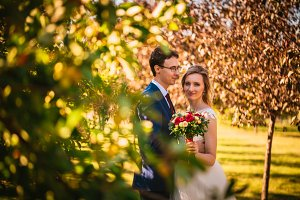 Beautiful stylish bride and groom on