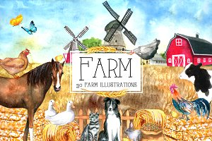 Watercolor FARM Clipart