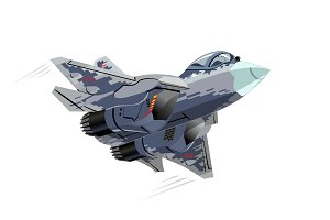 Cartoon Military Stealth Jet Fighter