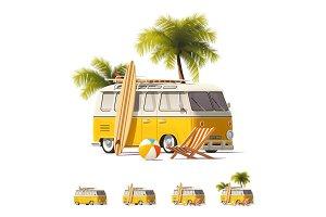 Vector realistic vintage hippie van