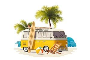 Vector realistic vintage surfer van