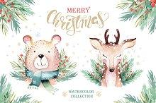 Watercolor Christmas animals