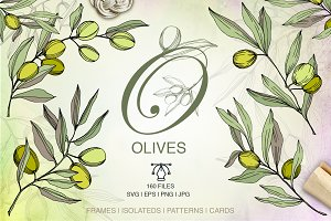 Olives vector EPS watercolor set