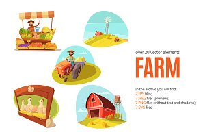 Farm Cartoon Set
