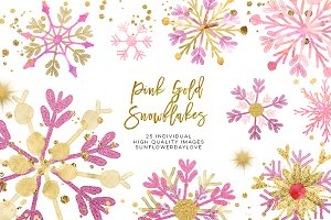 pink gold snowflakes clipart
