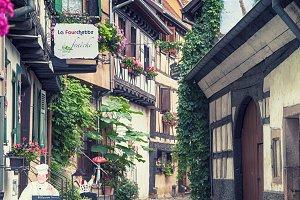 village street  in Eguisheim in Stra