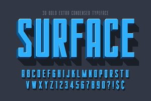 Condensed 3d display font design