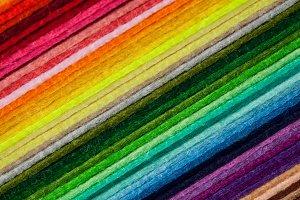 Staple of multicolored felt flaps