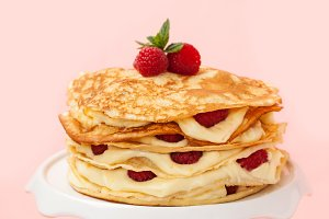 Pancake cake with raspberries