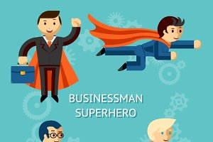 Business superheroes characters