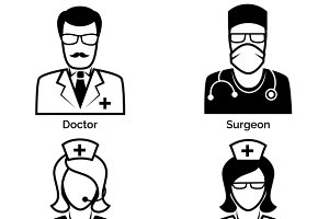 Medical staff icons. Doctor & nurse