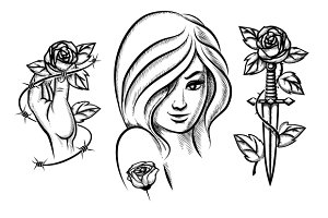 Tattoos. Beauty girl, knife & rose