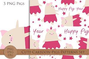 Cute cartoon pigs seamless patterns