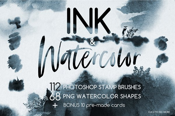 Photoshop Brushes: Art Bureau - Ink & Watercolor Brushes