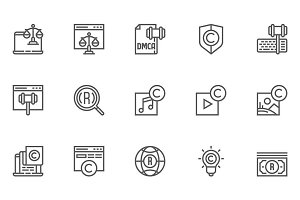 Digital Law Line Icons