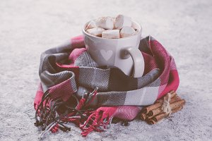 Hot chocolate with marshmallow and
