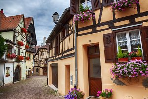 small street in village Eguisheim