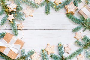 Festive white wooden background