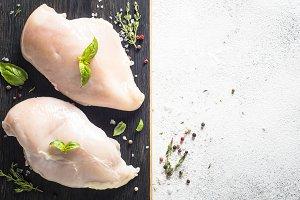 Fresh chicken fillet top view.