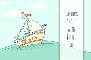 Cartoon yacht with little People