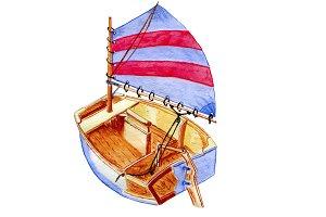 Spritsail Catboat Artwork