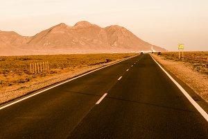 long, straight, deserted road