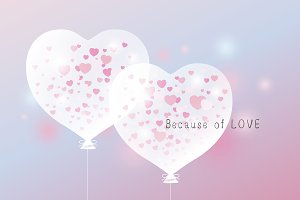 Love concept of heart balloon