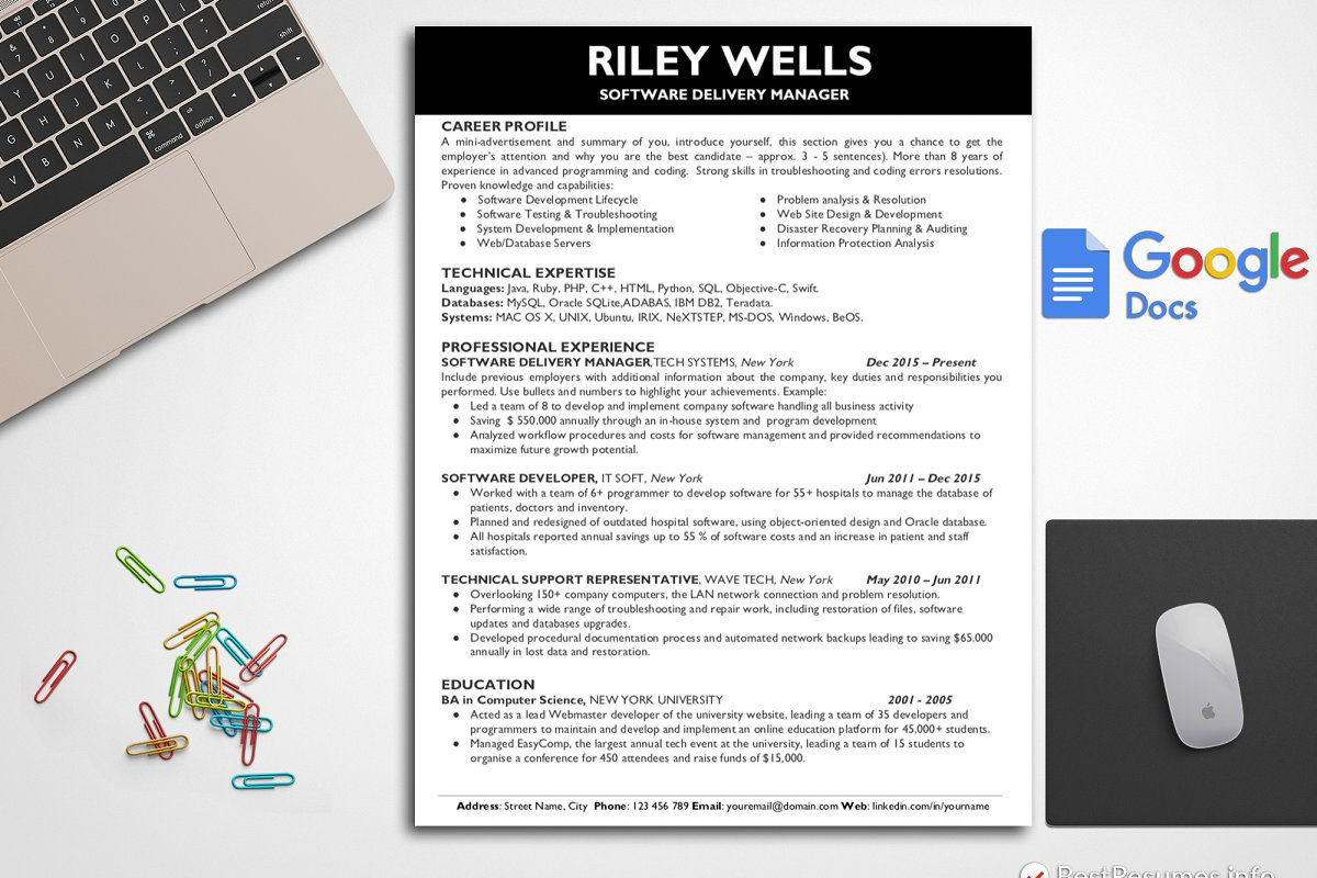 Tech Resume Template Google Docs Templates Creative Market
