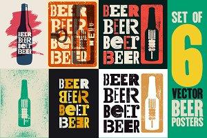 Beer vintage style grunge posters.