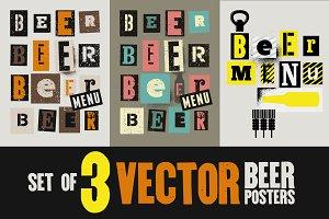Beer Menu typography grunge posters.