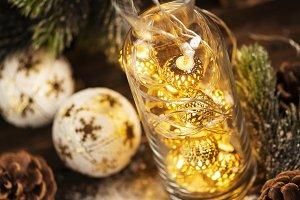 Christmas card with chrismas ligh