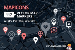 MapIcons - 117 Scalable Map Markers