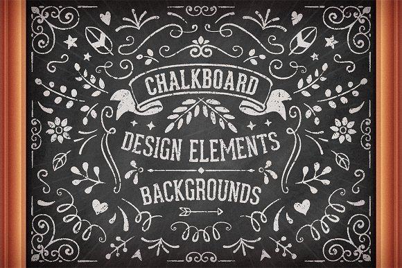 chalkboard design elements illustrations creative market
