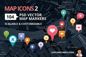 Map Icons 2 - 104 Vector PSD Markers