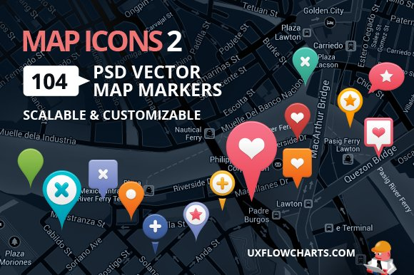 Map Icons 2  104 Vector PSD Markers  Icons  Creative Market