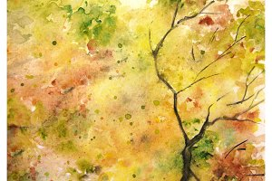 Watercolor autumn foliage pattern