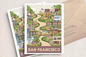 San Francisco Lombard street vector