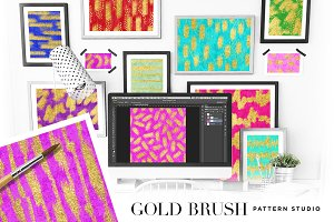 Gold Brush Pattern Studio Photoshop