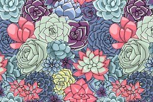 Vector succulents seamless pattern