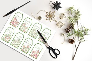 Gift Tags, Snowflake Holiday Sayings