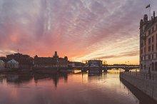 Scenic sunset over Stockholm