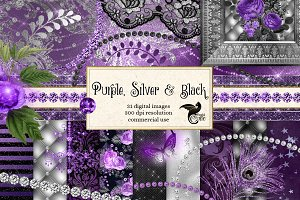 Purple, Silver and Black Graphics
