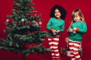 Kids celebrating christmas