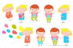 Kids Boy and Girl Isolated Clip Art