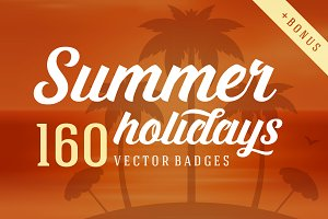 160 Summer holidays badges & logos